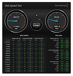 DiskSpeedTest 960GB Transcend 855 SSD MacPro 2013, 12-Core, 64GB RAM