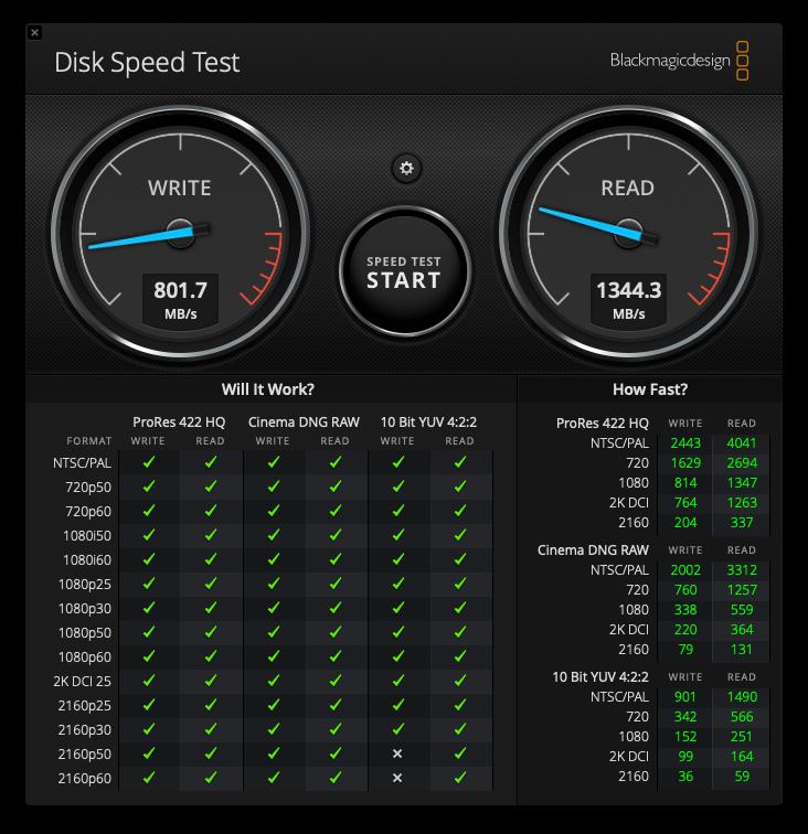 DiskSpeedTest 256GB OEM SSD MacPro 2013, 12-Core, 64GB RAM