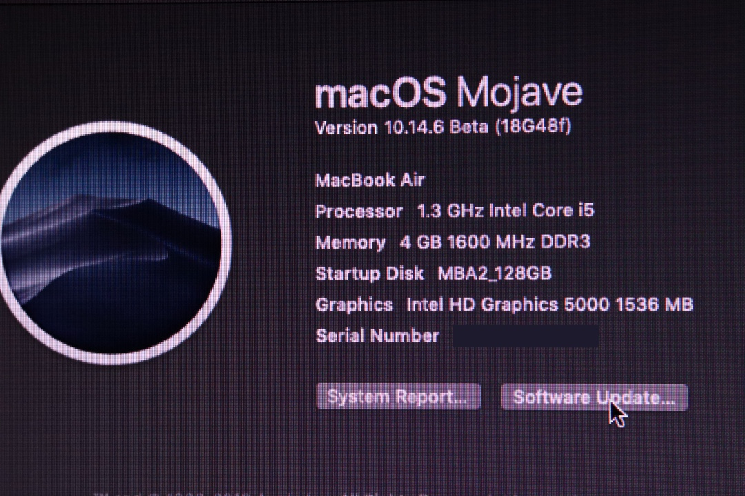 Restored MacBook Air back to Mojave 10.14.6 Beta