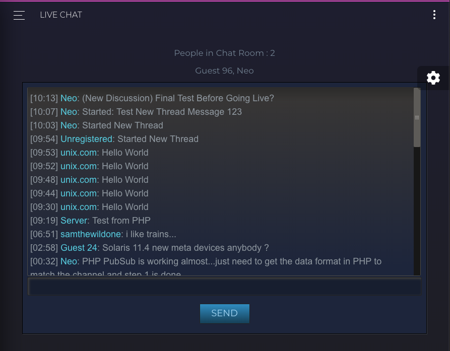 New Thread Messages in Live Chat
